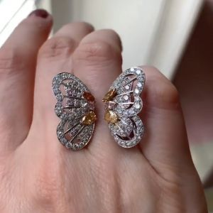 Orange Butterfly Design Pear & Marquise Engagement Ring