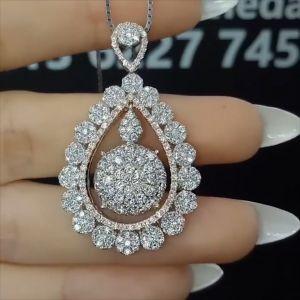 Pear Shape Round Cut Pendant Necklace