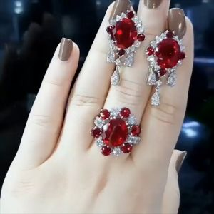 Ruby Round Cut Engagement Ring & Earrings Set