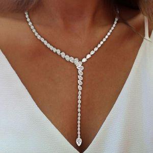 Pear Cut White Sapphire Necklace