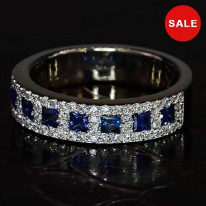 Halo Princess Blue Wedding Band