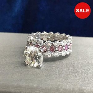 4.00 CT Round Cut Sterling Silver Engagement Wedding Set
